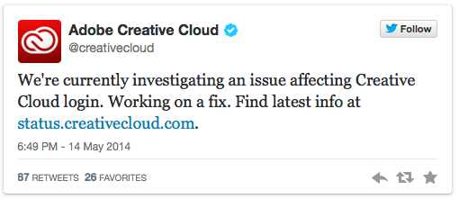 Adobe admits outage