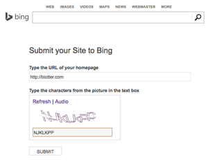 Search Engine Registration on Bing