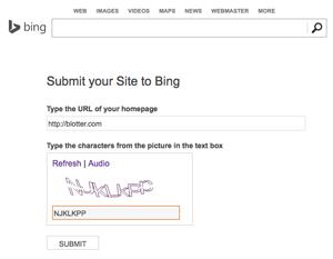 Search Engine Registration on Bing