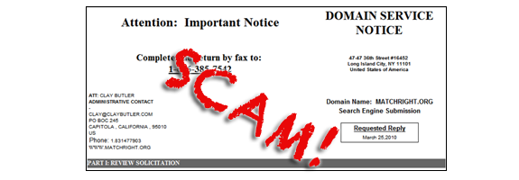 Search engine registration scams