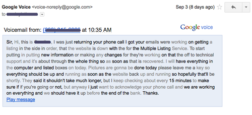 Google Voice Transcript