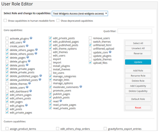 User Role Editor Screenshot