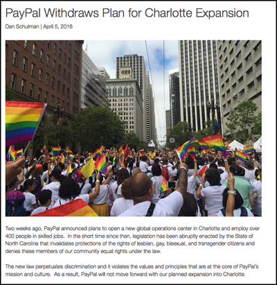 PayPal Withdraws Plan for Charlotte Expansion