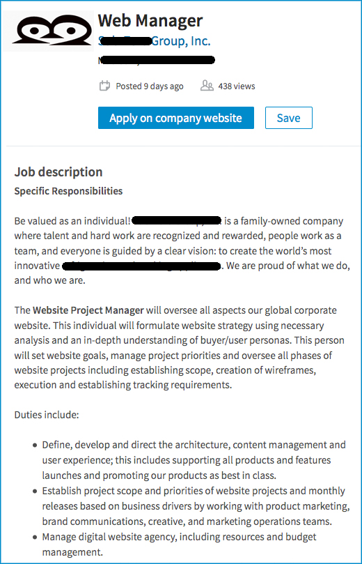 Sample Website Manager Job Listing
