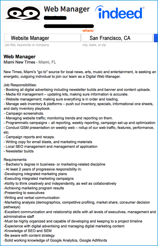 Manager Job Description | The New Silicon Valley Website Manager Job Description