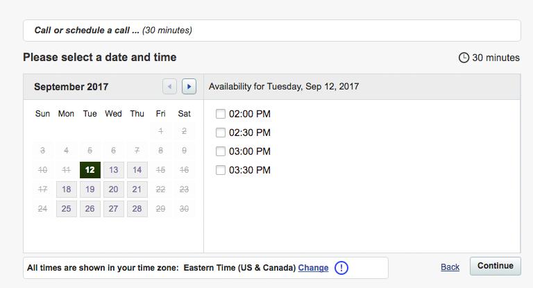 Website Scheduling Sales Funnel